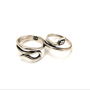 House of Harlow Double Snake Ring in Silver